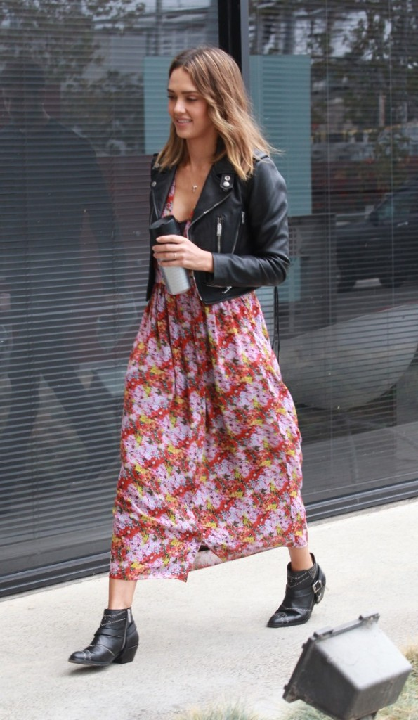 jessica-alba-floral-dress-summer-dress-into-fall-midi-ddress-maxi-dress-ankle-booties-moto-booties-black-moto-jacket-leather-jacket-www