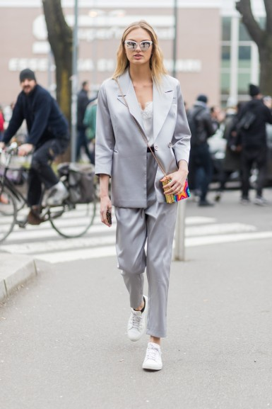 MILAN, ITALY - FEBRUARY 23: Model Romee Strijd wearing a grey suit outside Fendi during Milan Fashion Week Fall/Winter 2017/18 on February 23, 2017 in Milan, Italy. (Photo by Christian Vierig/Getty Images)