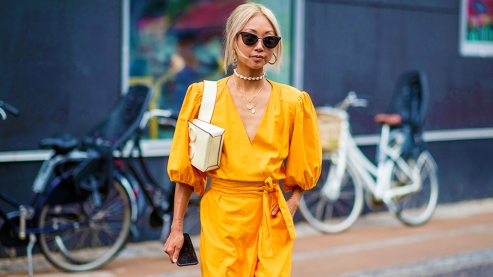COPENHAGEN, DENMARK - AUGUST 08: Vanessa Hong wearing yellow dress is seen outside Stine Goya during the Copenhagen Fashion Week Spring/Summer 2019 on August 8, 2018 in Copenhagen, Denmark. (Photo by Christian Vierig/Getty Images)